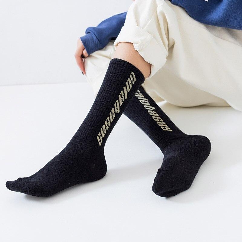 New Fashion Men Cotton   Socks   Women Streetwear Kanye West Ins Crew   Socks   Hip Hop Letter Calabasas   Socks   Long Skateboard   Sock