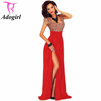 Amazing Gold Lace Overlay Red Slit Maxi Evening Gown Square Collar Short Sleeve Women S Long