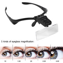 Luckyfine LED Light Magnifier Glasses for Eyelash Extension Grafting Reading Repair Tool 1X 1.5X 2X 2.5X 3.5X Makeup Tools(China)