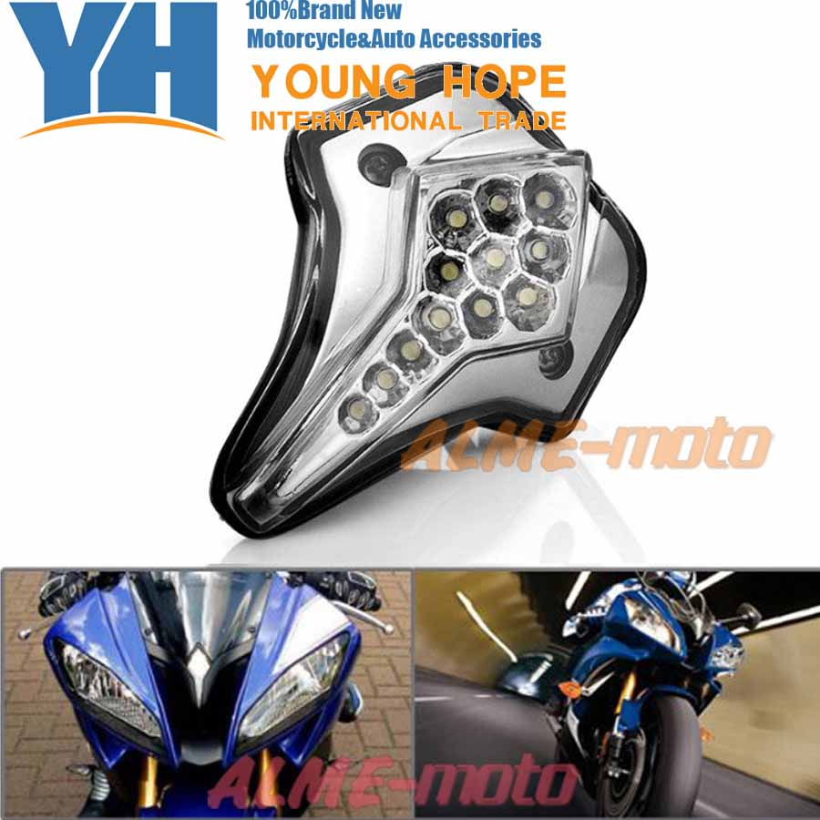 For YAMAHA YZF R6 2008-2012 Motorcycle Accessories Front Center Marker LED Pilot Light Smoke aftermarket free shipping motorcycle led tail light for 2006 2007 2008 2009 2010 2011 2012 2013 yamaha yzf r6 yzf r6 smoke
