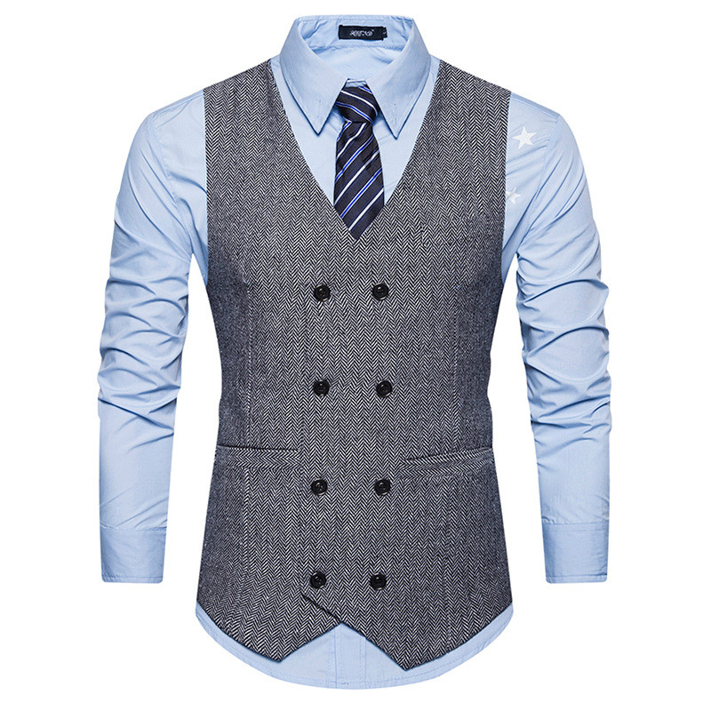 Fashion Double Breasted Woolen Suit Vest Men Spring New Sleeveless Wool Vest Waistcoat Mens Slim Fit Wedding Business Vests