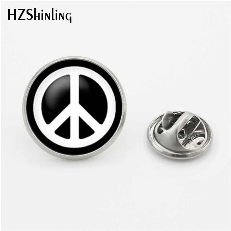 2017 Baru Kedatangan Perdamaian Simbol Kerah Pin Bros Round Hippie Peace Sign Bus Kerah Pin Butterfly Stainless Steel Gesper Pin
