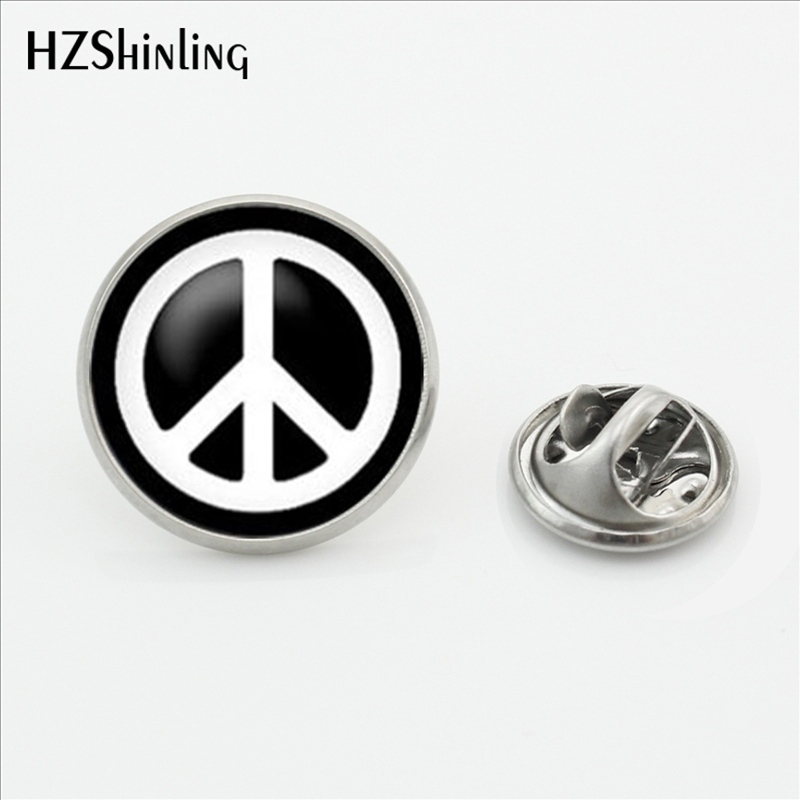 2017 New Arrival Peace Symbol Collar Pin Brooch Round Hippie Peace Sign Bus Lapel Pins Butterfly Stainless Steel Clasp Pin