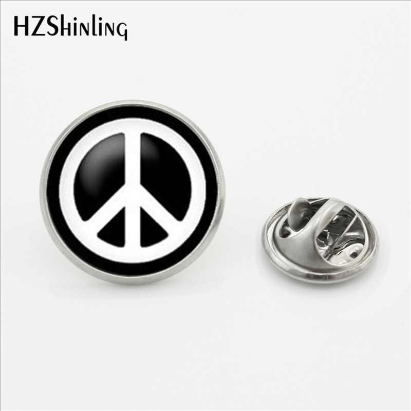 2017 yeni varış barış sembolü yaka Pin broş yuvarlak hippi barış işareti otobüs yaka iğnesi kelebek paslanmaz çelik toka Pin