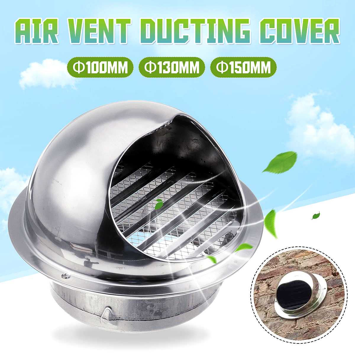 304 Stainless Steel <font><b>100mm</b></font>/130mm/150mm <font><b>Duct</b></font> Cover Round Ventilation System <font><b>Fan</b></font> Exhaust Wall Air Vent Rainproof <font><b>Duct</b></font> Cover Newest image