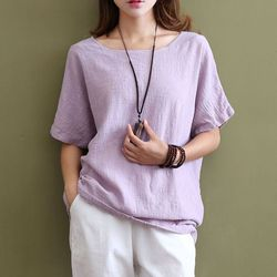 Women top loose casual short sleeve 100 cotton woman tshirt top spliced o neck basic simple.jpg 250x250
