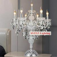 Free shipping chrome silver candleholder table lamp candelabra table lights dining room bedroom wedding glass candle holders