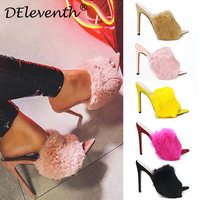 DEleventh EGO SIMMI CAPE Fluffy pointy stiletto high heels shoes woman fur slipper sandals rose yellow pink nude black EUR 43 42