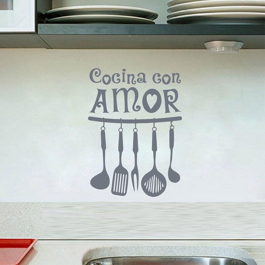 Espagnol Vinyle Wall Sticker Cocina Con Amor Mur Art Devis Stickers Mural Accueil Cuisine Décoration