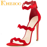 Kmeioo 2018 Fashion Ladies Shoes Gladiator Sandals Zip Open Toe Woman Shoes Hollow Out Stiletto Heels Party Ladies S