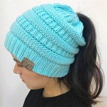 0ee1c5d6df0c3 2018 Fashion Women s Girl Stretch Knit Hat Messy Bun Ponytail Beanies Holey Warm  Winter Hats New Trendy CC Warm Winter Hat