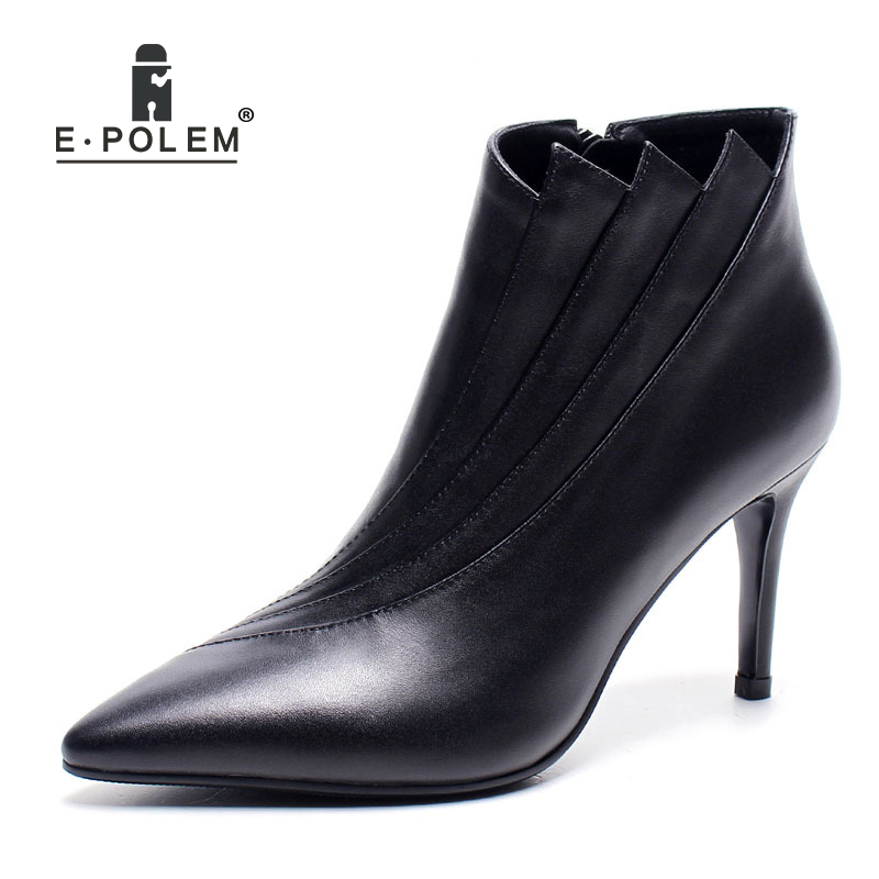 2018 New Female Pleated Patchwork Genuine Leather Martin Boots Pointed Toe Zip Ankle Boots High Heel Women Casual Short Boots 2018 new pleated genuine leather women