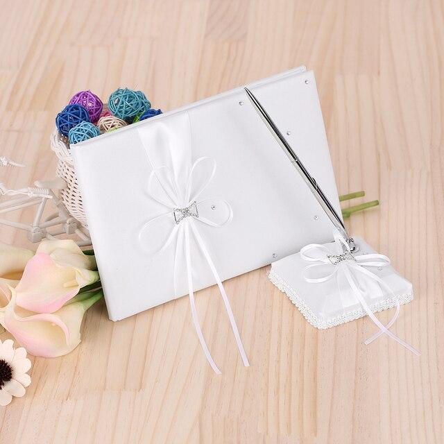 white wedding ceremony guset signature book rhinestone register