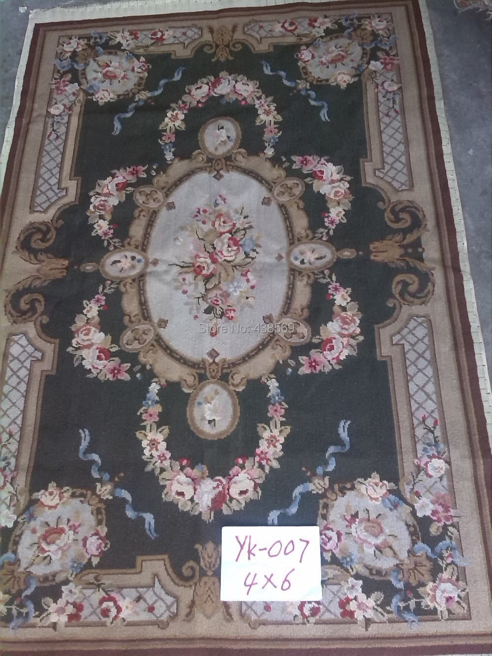 Free shipping 10K 4'x6' needlepoint woolen rugs carpets pure Wool & Hand knotted rugs dark green flora
