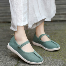 Spring New Womens Single Shoe National Style Chinese Clothing Cotton and Hemp Embroidered Old Beijing Clothes Shoes Yasilaiya