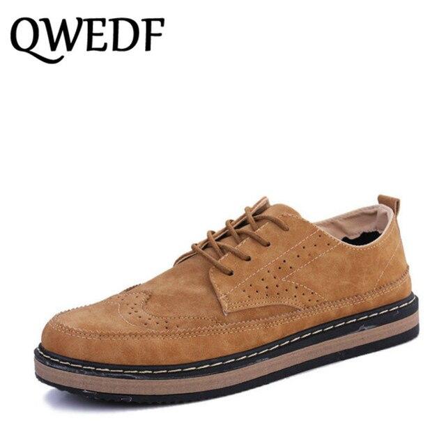 QWEDF 2019 Novos Homens Da Moda casuais sapatos de couro macio Respirável estilo britânico sapatilha sapato Confortável Dirigindo sapatos baixos ZZ-031