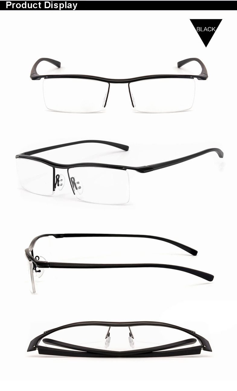Browline Halbrand Legierung Metall Brillen Rahmen für Männer Brillen ...