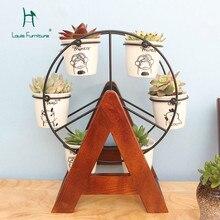 Луи моды полки растений мини подставка для цветов твердой древесины офиса небольшой цветок