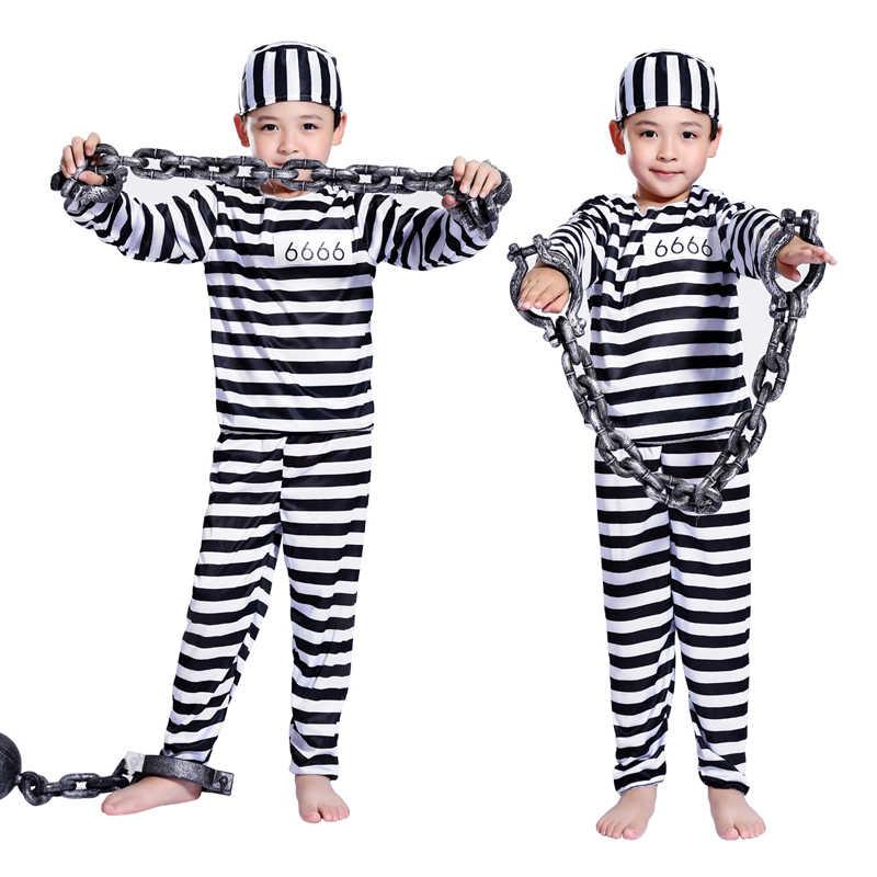 d1cefe82c4c2 ... Halloween Cosplay Costume clothes boy child striped prisoner prisoner  costume masquerade costume ...