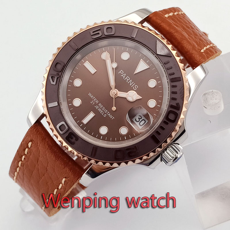 Parnis 41mm Sapphire Glass Brown Dial Ceramic Bezel Automatic Watches