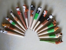 20PCS New Arrival Wood Carving Craft Ballpoint Pen Cute Cartoon Colored Drawing Handmade Animal Promotional Gift