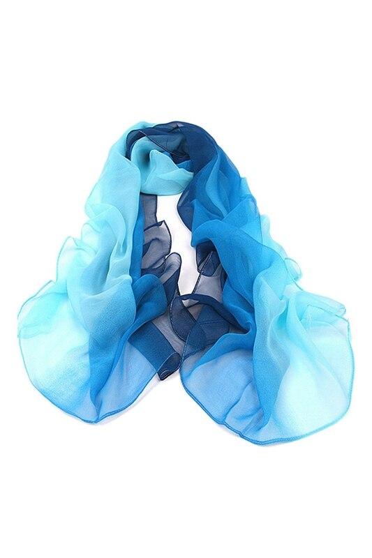 Gradient Color Wrap Ladies Shawl Silk Chiffon Scarf Scarves (Light Blue To Dark Blue)