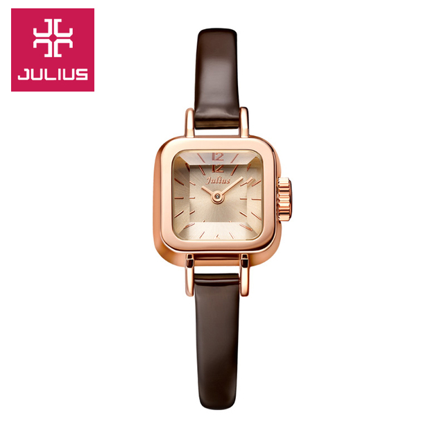 Julius Lady Wrist Watch Quartz Woman Hours Best Fashion Dress Bracelet Leather Band Lovely Mini Square Cute Girl Gift JA-496