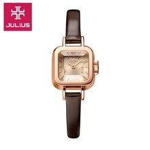 Señora de las mujeres de japón del reloj de cuarzo horas vestido de la manera pulsera de cuero fino regalo lindo de la muchacha encantadora mini caramelo cuadrado julius caja