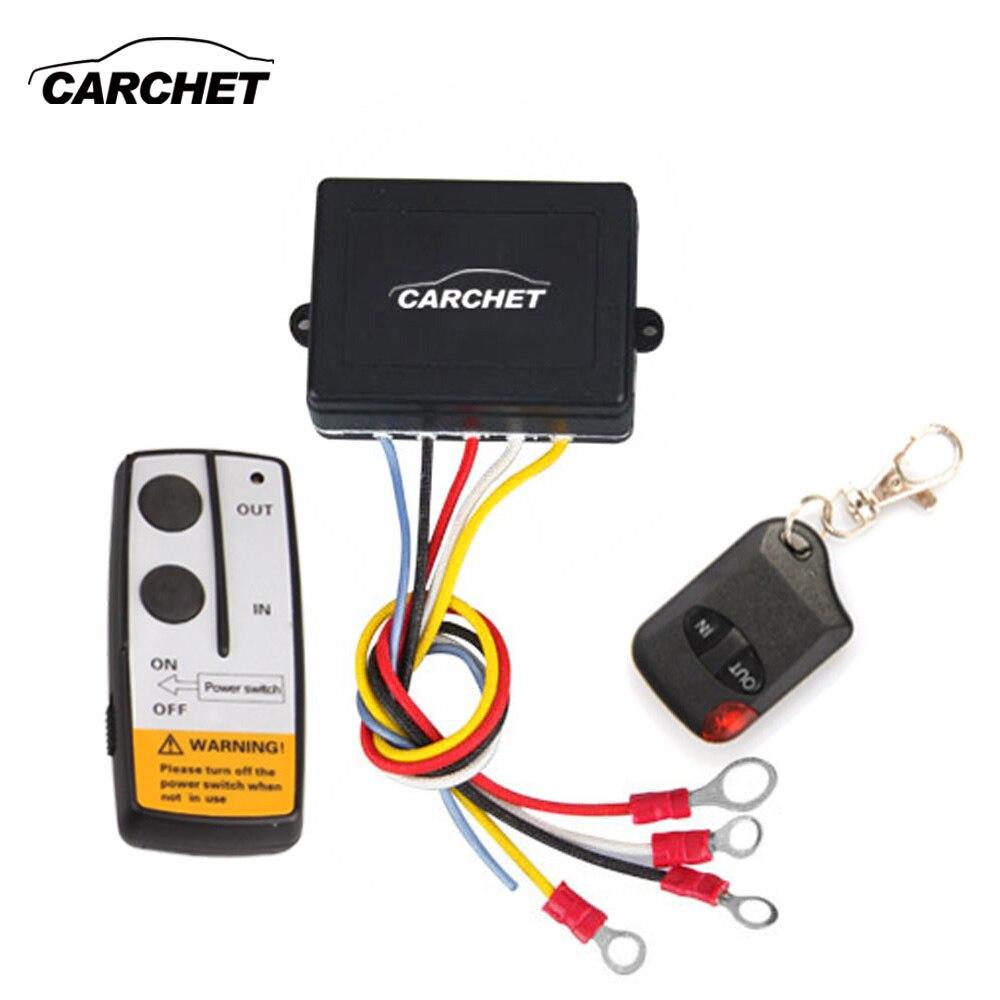 CARCHET Verricello A Distanza Senza Fili di Controllo di CC 12 v Winch Wireless Remote Control Set per il Camion Jeep ATV Winch 12 v 50ft/15 m Vendita Calda