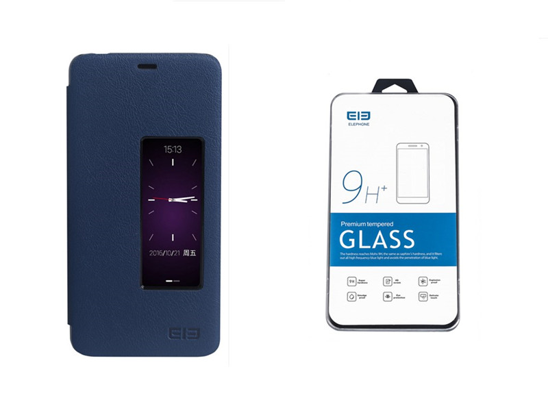 Original Flip Cover Protective Leather Case Tempered Glass Protective Film for ELEPHONE R9 Smartphone