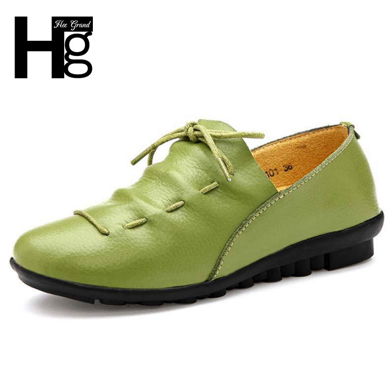 HEE GRAND Soft PU Leather Low Heel Women s Pumps Lace up Loafers Comfortable Shoes Leisure
