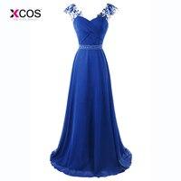 Royal Blue Sequins Prom Dress Long Crystal Beaded Chiffon Party Gowns Lace up Criss Cross Evening Dresses Vestido de noche