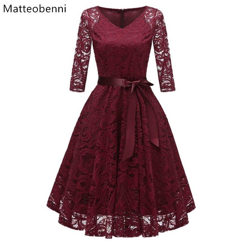 Women Vintage 3 4 Sleeve V Neck Belt Tunic Slim Swing Bridesmaid Floral Lace Dress Wedding