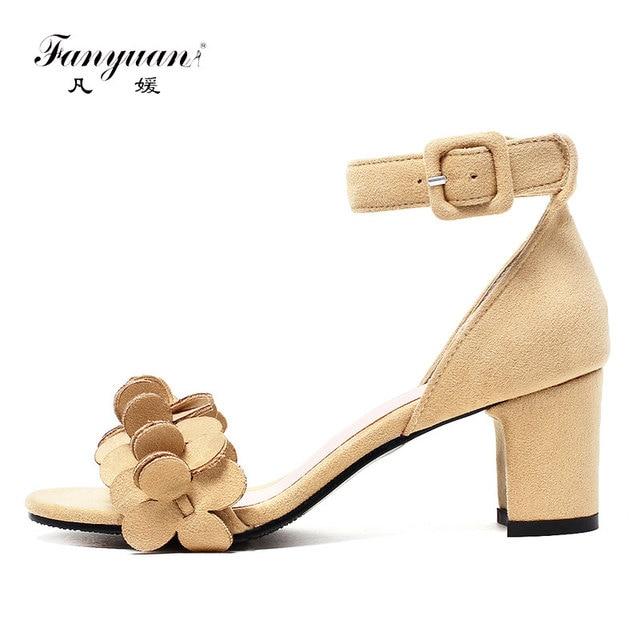 03d22c87fd46 Fanyuan Latest designs Summer high Block heel Sandals women elegant Solid  Buckle strap with Flower Wedding bridal Peep toe shoes