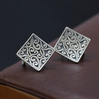 S990 sterling silver jewelry wholesale Vintage lady cloud personality ear buckle free shipping