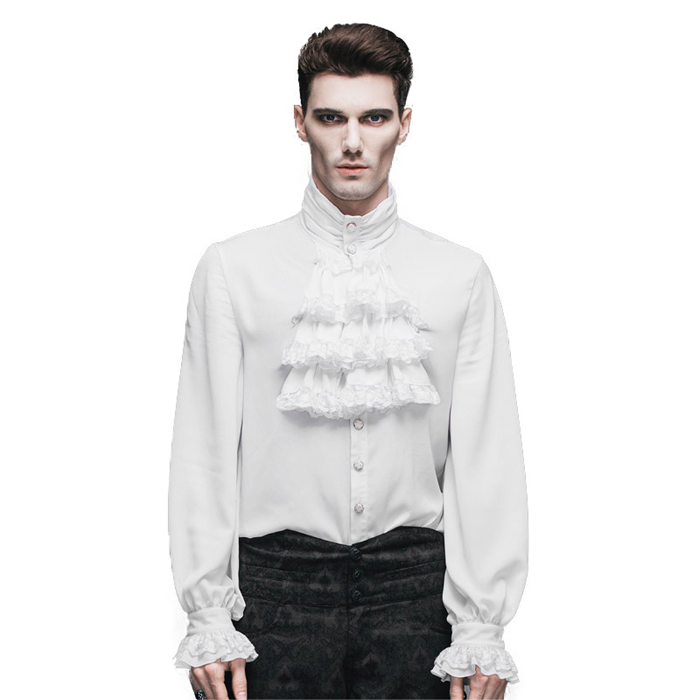 Fashion Punk New Gothic Party Steampunk Black Top Evening Shirt  Retro Palace Personality Pure White Men Casual Shirt Blousemen casual  shirtcasual shirtfashion casual shirts