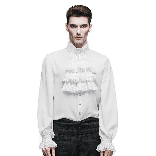 แฟชั่น Punk New Gothic PARTY Steampunk Black TOP Evening เสื้อ Retro Palace บุคลิกภาพสีขาวชายเสื้อลำลองเสื้อ