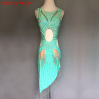 2018 Custom made Women Sleeveless diamonds Latin Dance Dress Women Ballroom Dancing Dresses Latin Dance Costume Latin Dresses