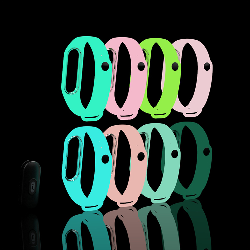Image 2 - BOORUI Luminous Silicone Miband 3 Strap pulsera adjustable Colorful wrist strap replacement for xiaomi mi 3 smart bracelets band-in Smart Accessories from Consumer Electronics