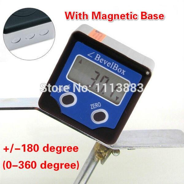 360 Graus Mini Caixa de Bisel Digitais Medidor Inclinometer Transferidor Medidor de Ângulo Localizador Transferidor Com Ímãs Base