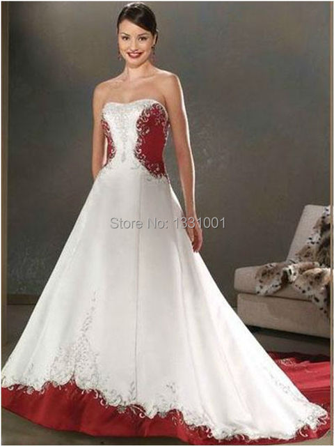 Cheap Red And White Wedding Dresses 2016 New Fashion Sexy Strapless Bridal  Dress For Women Vestido De Noiva Vintage Plus Size 039360f339