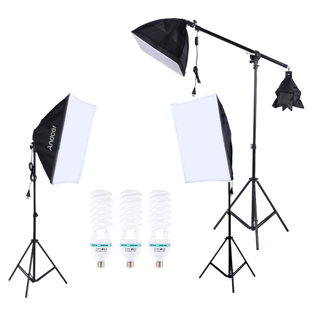 Andoer Professional Photography Lighting Kit Photo Studio Set 135W Daylight Bulb Light Stand Square Cube Softbox Cantilever Bag