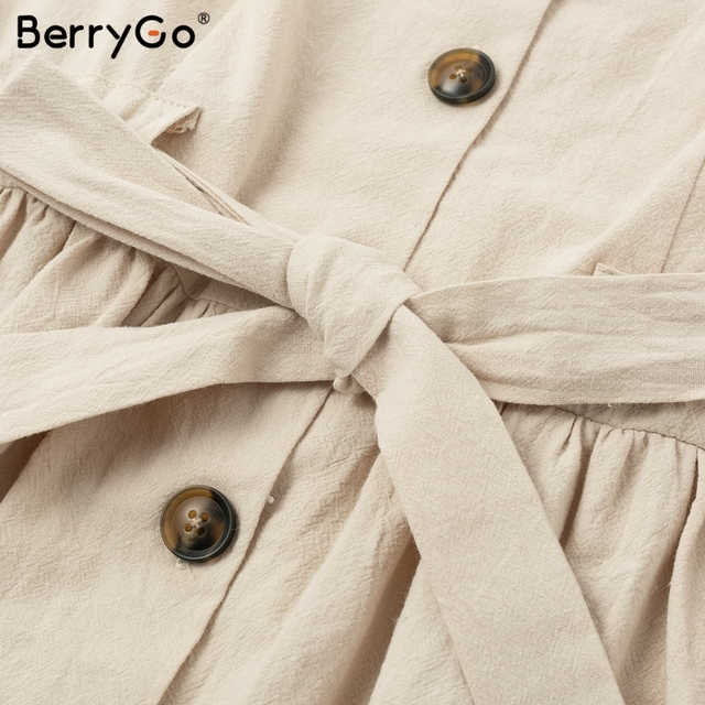 BerryGo Sexy v-neck women dresses linen dress Vintage short sleeve button sash mini dress Casual streetwear summer dress vestido 5