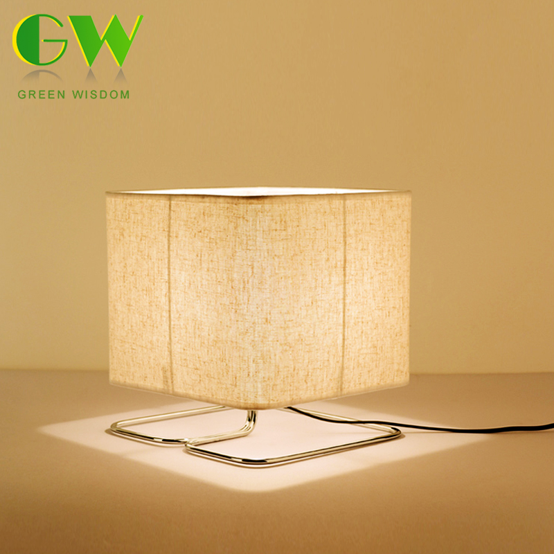LED Wooden Table Lamp Square Wood+Fabric Art Modern Desk Lamp E27 Holder LED Bulb for Bed Room/Living Room Decoration
