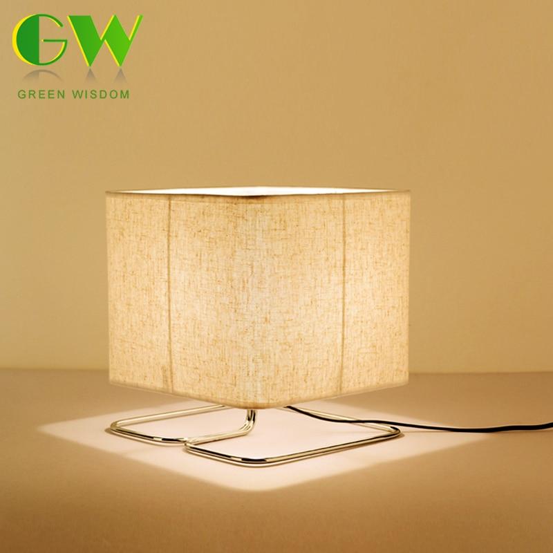 LED Wooden Table Lamp Square Wood+Fabric Art Modern Desk Lamp E27 Holder LED Bulb for Bed Room/Living Room Decoration