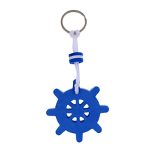 Yachting Boating Floating Key Chain Ring Keyring - Ships Rudder Blue shape Solid Compressed Foam