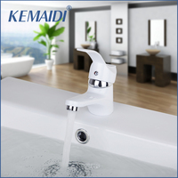 White Painting Short New Brand Bathroom Hot And Cold Mixer Tap Solid Brass Basin Faucet Chrome