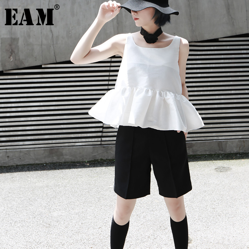 [EAM] 2019 Spring Fashion New Hand-stitched Imitation Pearl Feather Sexy White Back Botton White Tube Top Women YC90000