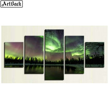 5 spells diamond painting Northern Lights scenery sunset full square drill mosaic diy embroidery