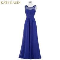 Lace Prom Dresses Long Royal Blue Green Black White Evening Dress with Stones Vestido de Festa Chiffon Prom Dresses 2018 ST64